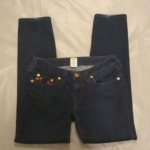True religion sequined logo pockets skinny jeans